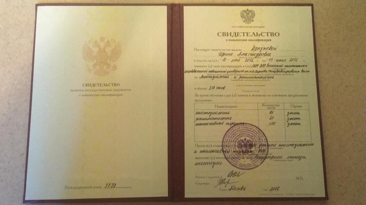 Брызжнева И.А. - Сертификат №10
